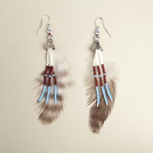 Turquoise Seed Bead Feather Earrings