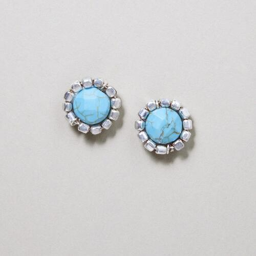 Silver and Magnesite Stud Earrings
