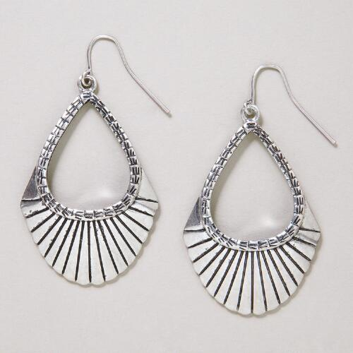Silver Fan Hoop Earrings