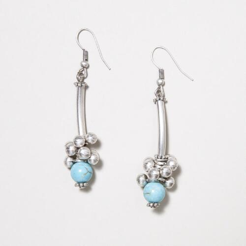 Turquoise and Silver Cluster Drop Earrings