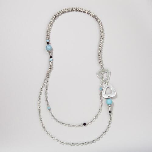 Turquoise and Silver Two-Strand Necklace