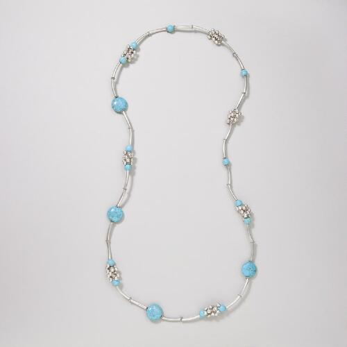 Turquoise and Silver Cluster Necklace