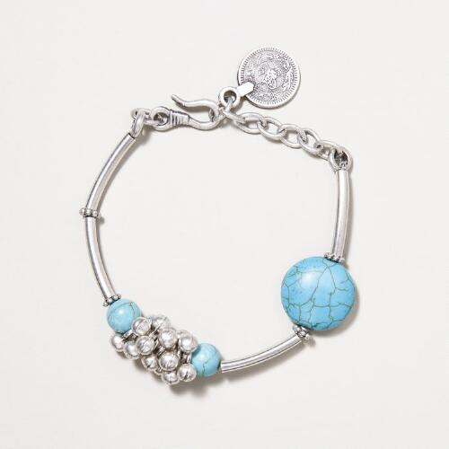 Turquoise and Silver Cluster Bracelet