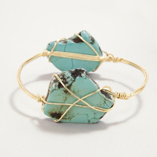 Magnesite and Gold Wire Bracelet