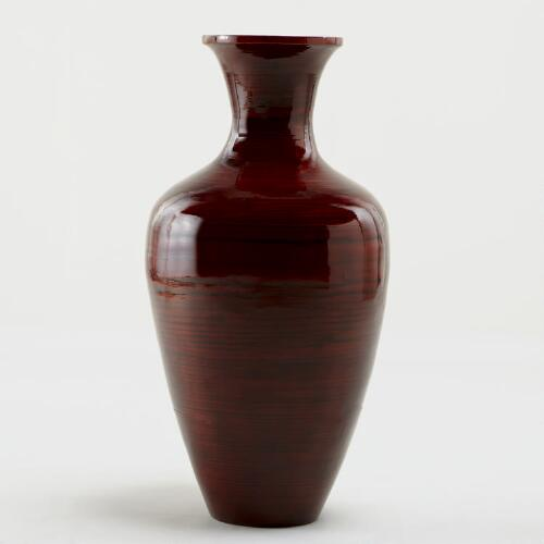 Red Traditional Bamboo Vase