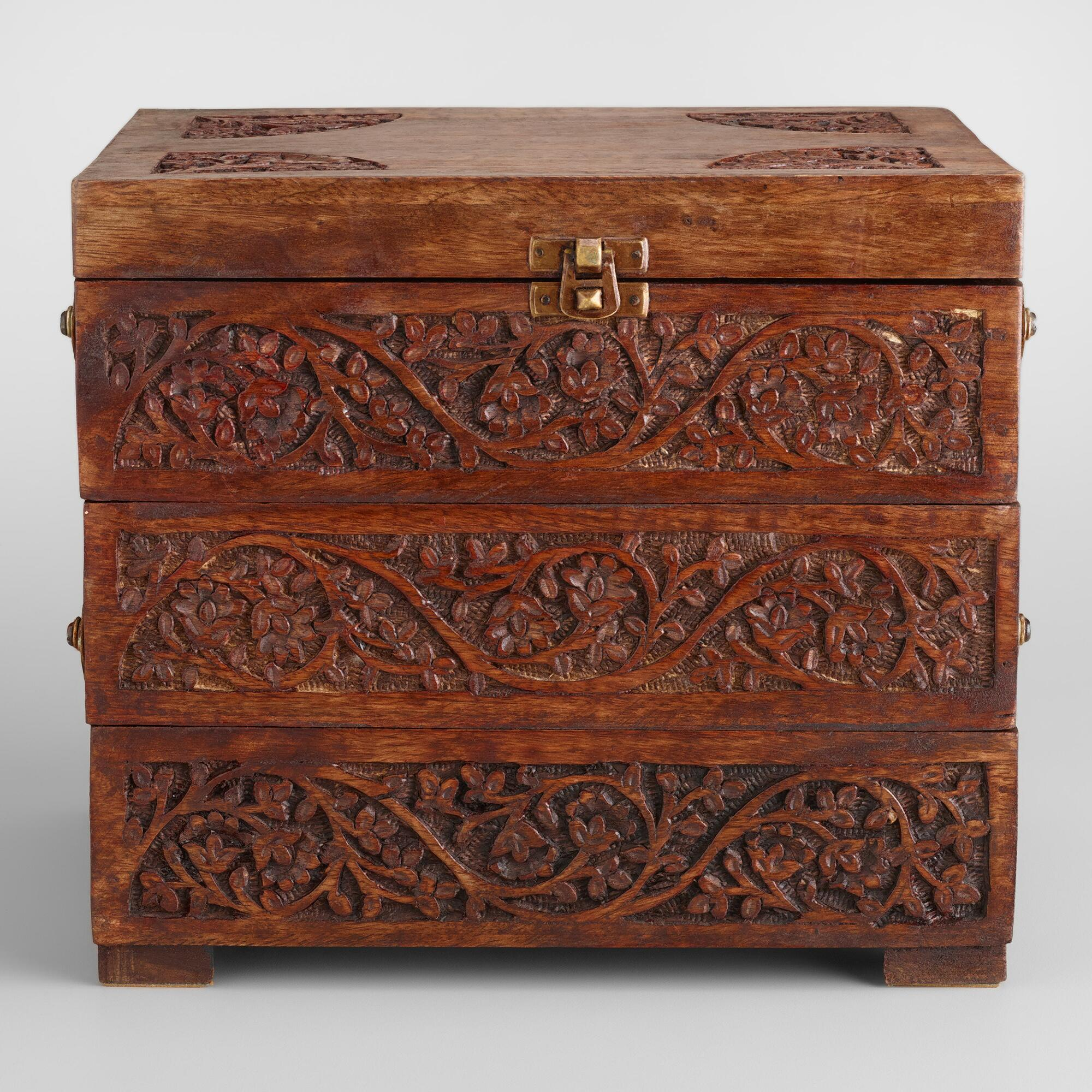 Carved wood tiered jewelry box world market on popscreen for How to carve a wooden ring