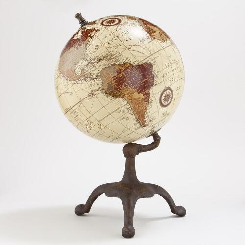 Beige Metal Globe with 3-Prong Metal Stand