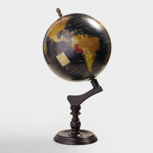 Black Globe with Brown Wood Stand