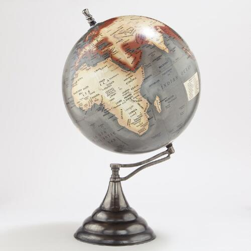 Grey Globe with Antique Gunmetal Stand