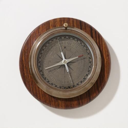 Compass with Wooden Base
