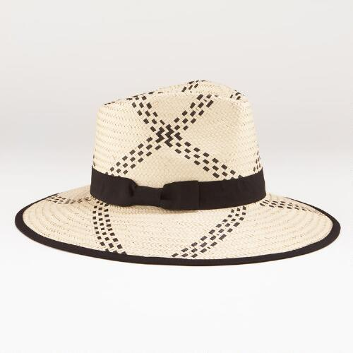 Black and Natural Wide Brim Fedora