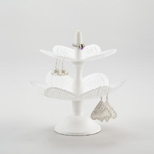 White Tiered Jewelry Stand