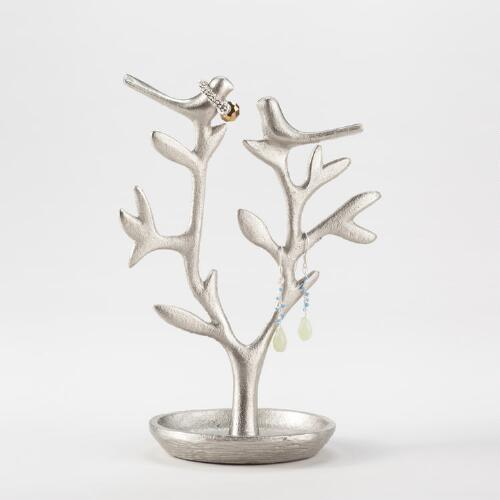 Pewter Tree with Birds Jewelry Stand