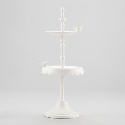 White Bird Bath Jewelry Stand