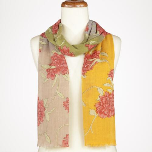 Yellow and Green Floral Ombre Scarf