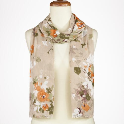Tan Floral Scarf