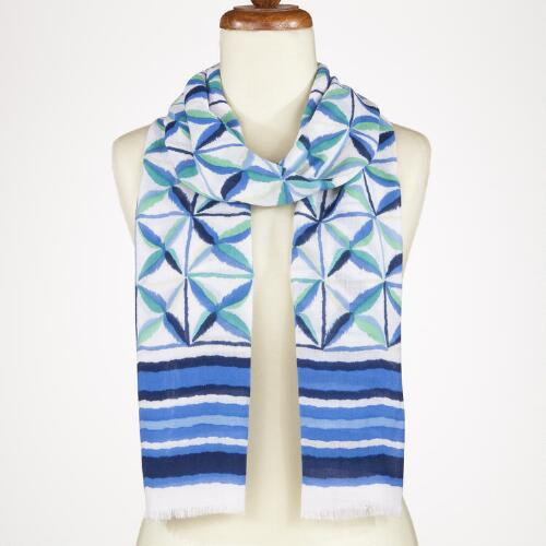 Teal and Blue Trellis Ikat Scarf