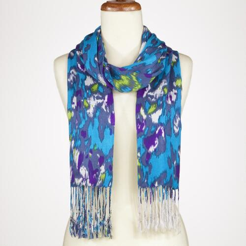 Teal and Blue Ikat Dot Scarf