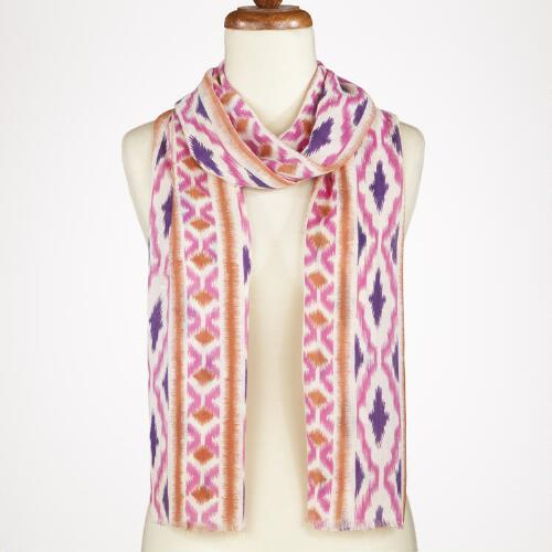 Pink and Brown Stripe Ikat Scarf