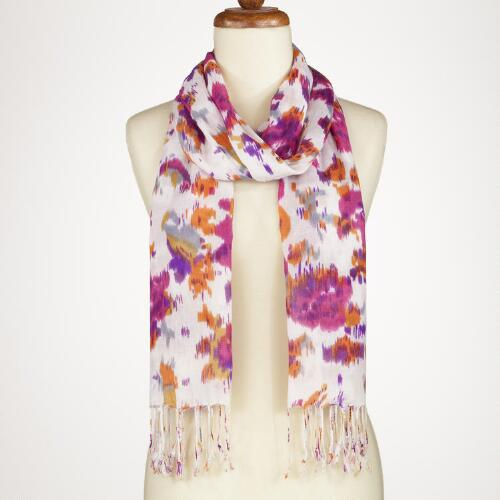 Pink and Purple Ikat Floral Scarf