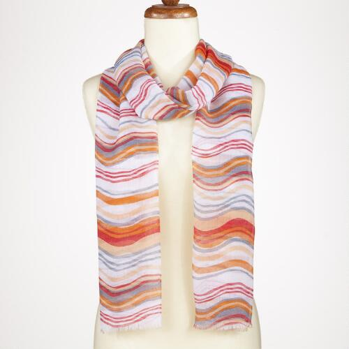 Orange Watercolor Stripe Scarf