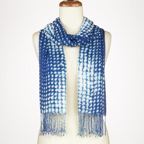 Turquoise and Blue Water Tiles Scarf