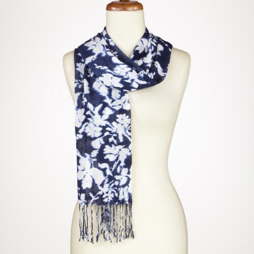 Blue Silhouette Floral Scarf