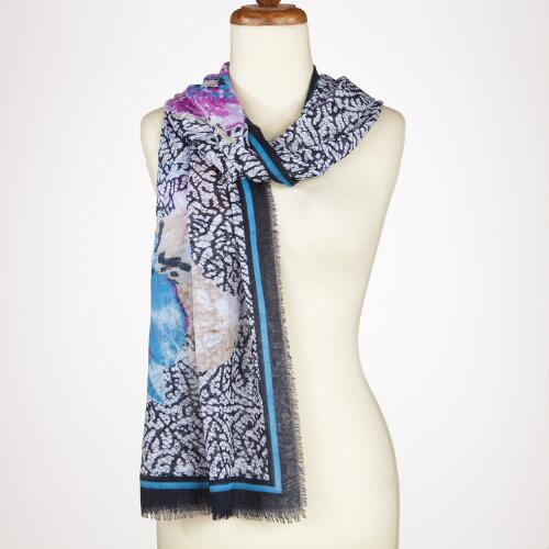 Blue Abstract Flower Scarf