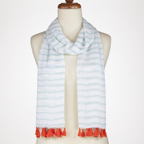 Teal Stripe Scarf with Coral Tassels
