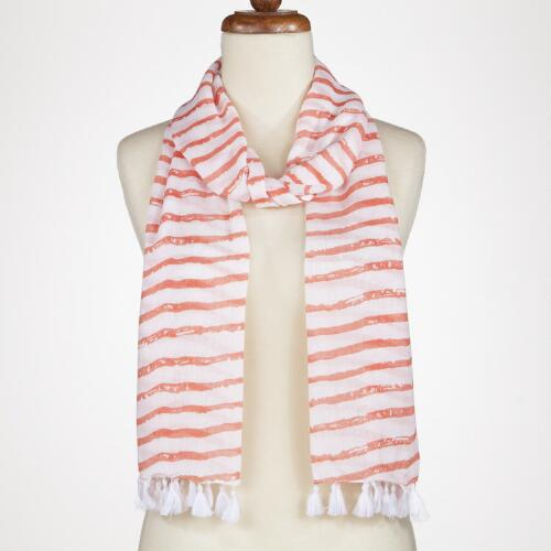 Coral Stripe Scarf with White Tassels