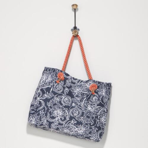 Navy and White Floral Tote