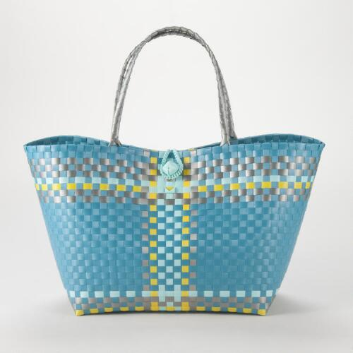 Turquoise, Yellow and Gray Woven Tote
