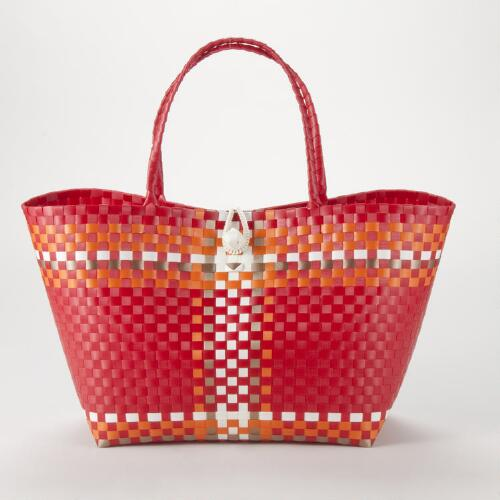 Red and Orange Woven Tote