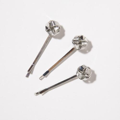Silver Knot Hairpins, Set of 3