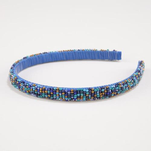 Blue and Teal Seed Bead Headband
