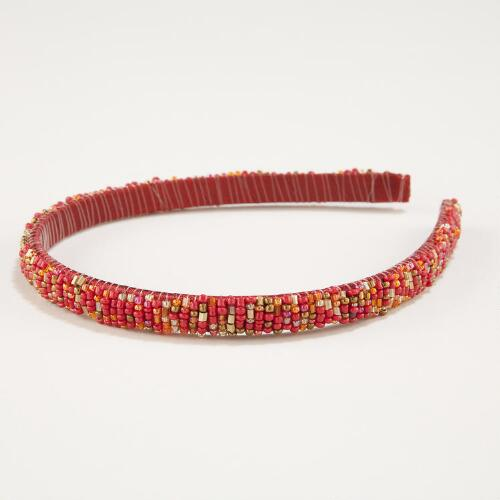 Red Seed Bead Headband