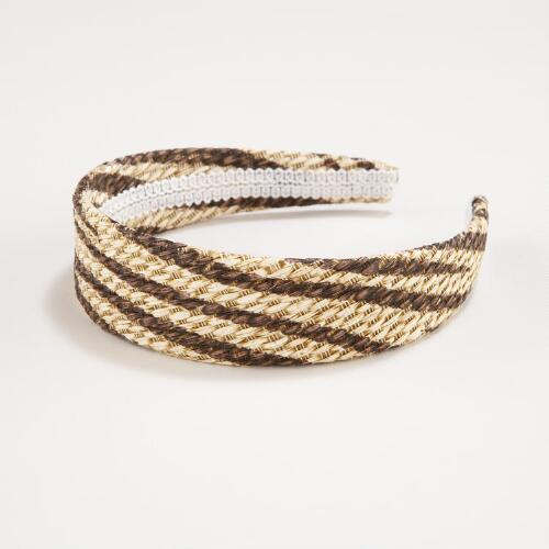 Natural and Brown Zebra Stripe Headband