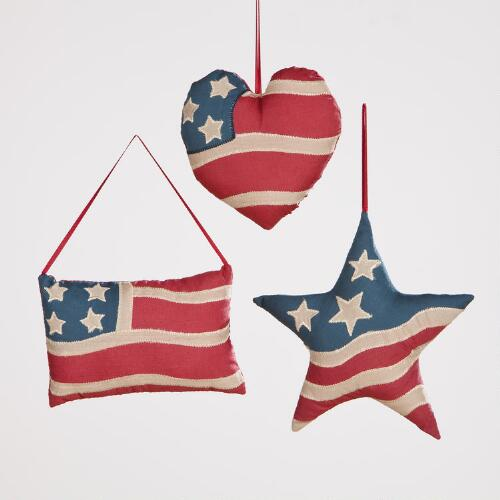Americana Mini Pillow Ornaments, Set of 3