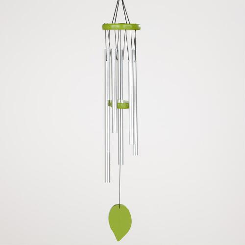 Green Painted Wood Wind Chime