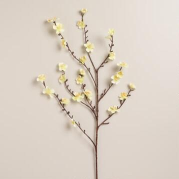 Ivory Velvet Plum Blossoms, Set of 2