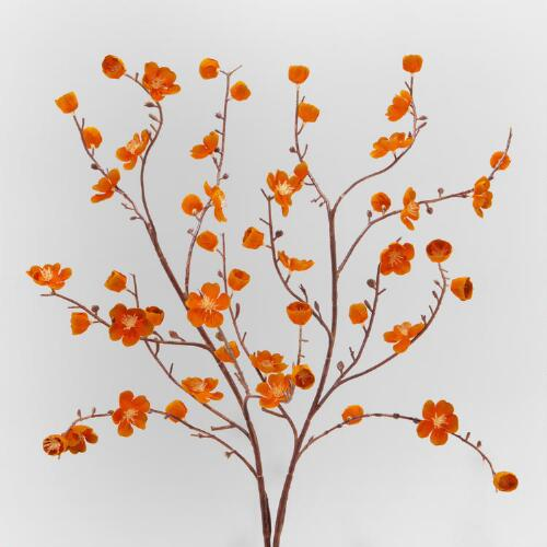 Orange Velvet Plum Blossoms, Set of 2