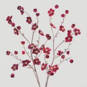 Burgundy Velvet Plum Blossoms, Set of 2