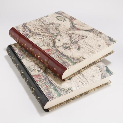 World Map Book Boxes, Set of 2