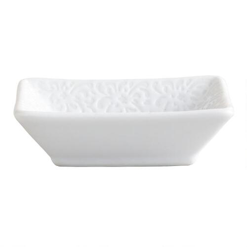 Square Floral Border Sushi Dipping Dishes, Set of 6
