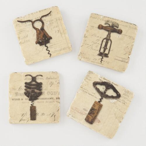 Vintage Corkscrew Coasters, Set of 4
