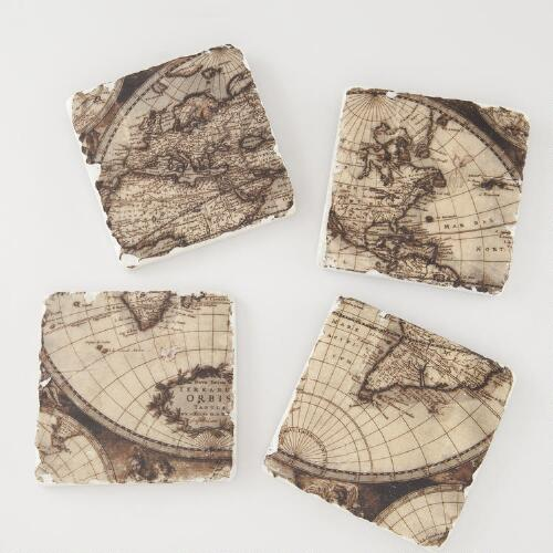 Vintage Map Coasters, Set of 4