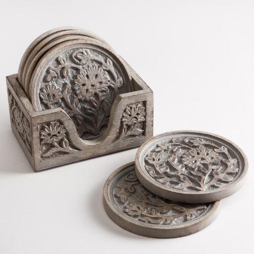 Parnavi Carved Wood Coasters, Set of 6