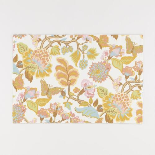 White Butterfly Palampore Placemats, Set of 4