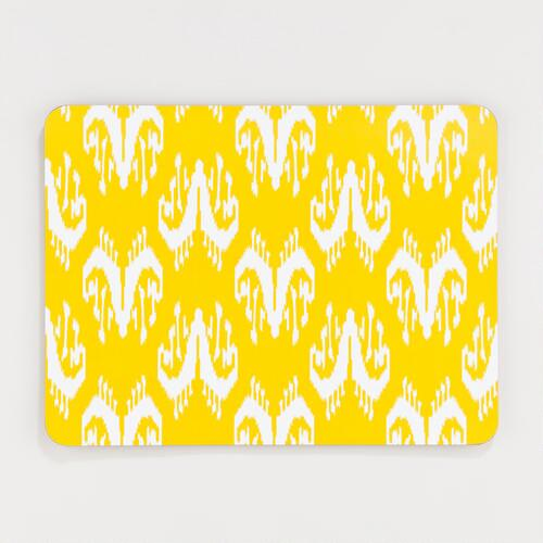 Yellow and White Ikat Cork Placemats, Set of 2