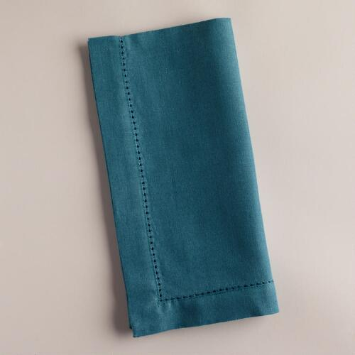 Aegean Blue Hemstitch Napkins, Set of 4